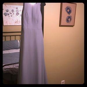 Blue Hayley Paige style 5714 bridesmaid dress